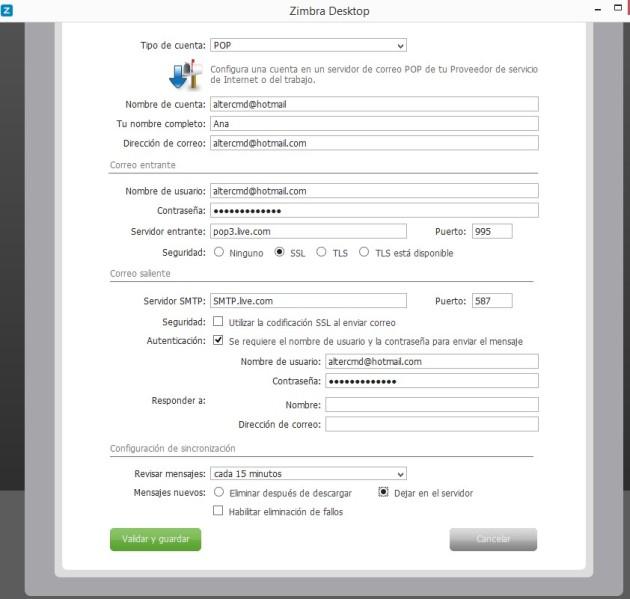 hotmail zimbra configuracion