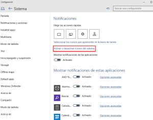 Click sobre Activar o Desactivar iconos del sistema