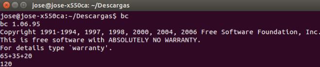 bc calculadora linux terminal