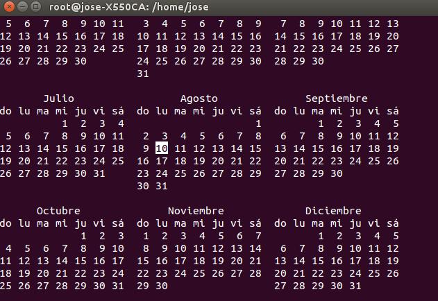 calendario terminal
