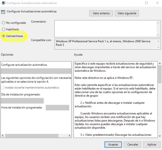 desactivar actualizaciones automaticas windows 10