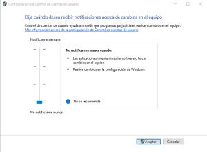 desactivar control cuentas usuario windows 10