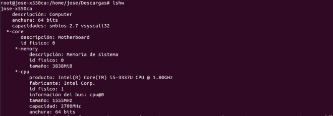 informacion hardware terminal linux