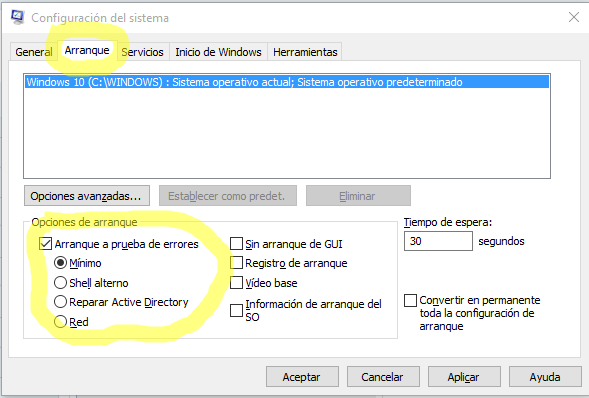 modo a prueba de fallos windows 10
